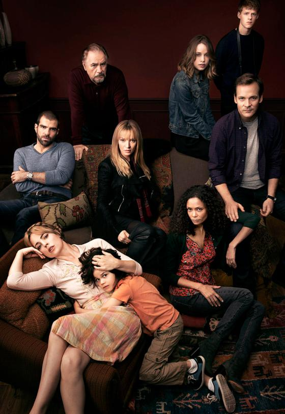 THE SLAP -- Season: 1 -- Pictured: (l-r) Melissa George as Rosie, Zachary Quinto as Harry, Brian Cox as Manolis, Dylan Schombing as Hugo, Thandie Newton as Aisha, Makenzie Leigh as Connie, Uma Thurman as Anouk, Peter Saarsgard as Hector, Lucas Hedges as Ritchie -- (Photo by: Jeff Riedel/NBC)