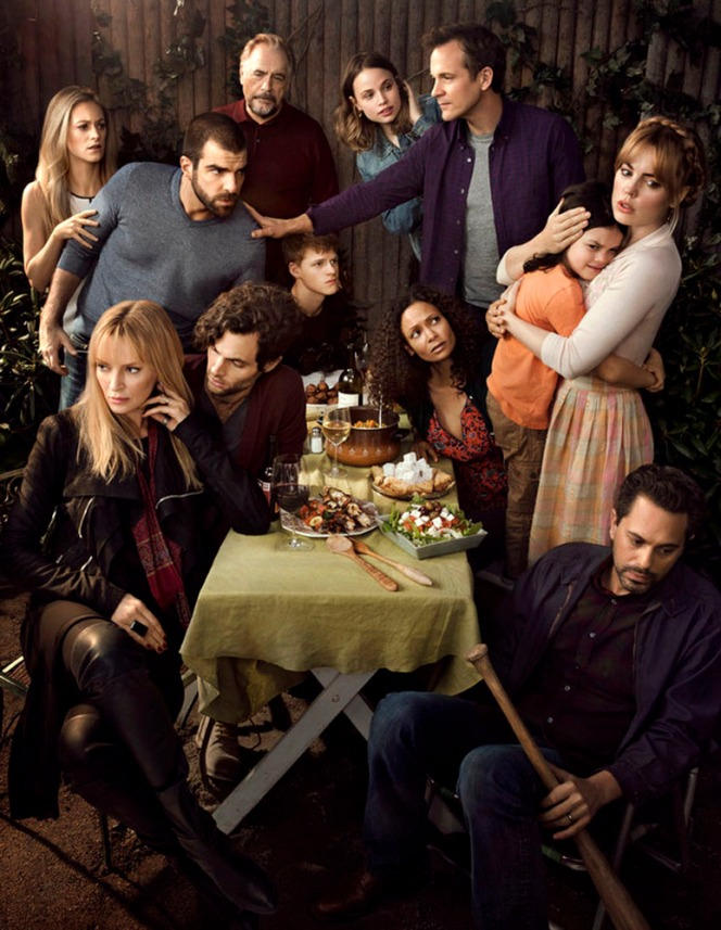 THE SLAP -- Season: 1 -- Pictured: (l-r) Marin Ireland as Sandi, Zachary Quinto as Harry, Brian Cox as Manolis, Uma Thurman as Anouk, Penn Badgley as Jamie, Lucas Hedges as Ritchie, Makenzie Leigh as Connie, Thandie Newton as Aisha, Peter Saarsgard as Hector, Dylan Schombing as Hugo, Melissa George as Rosie, Thomas Sadoski as Gary -- (Photo by: Jeff Riedel/NBC)